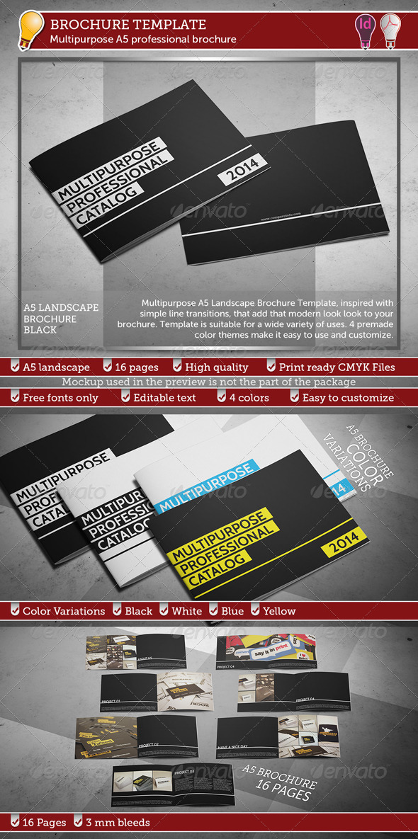 GraphicRiver Multipurpose A5 Professional Brochure Template 7962191