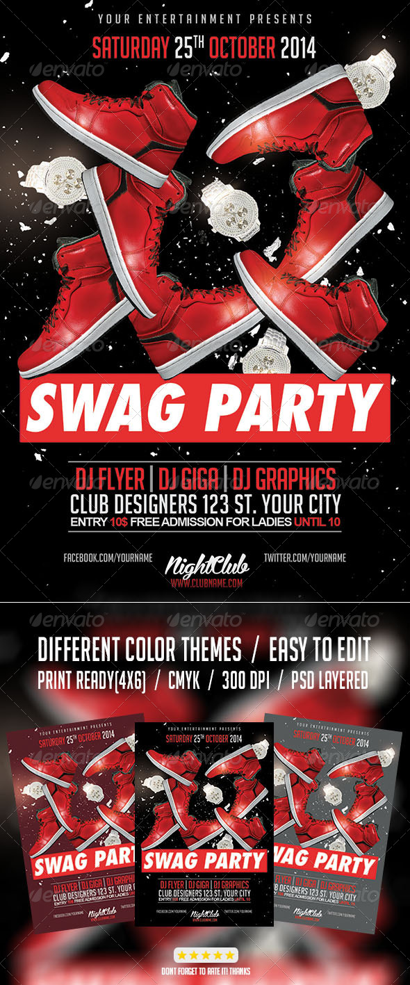 GraphicRiver Red Swag Hip Hop Party Flyer 7962217