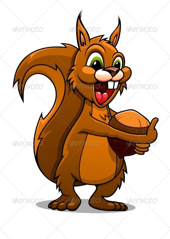 GraphicRiver Cartoon Squirrel with Nut 7962533