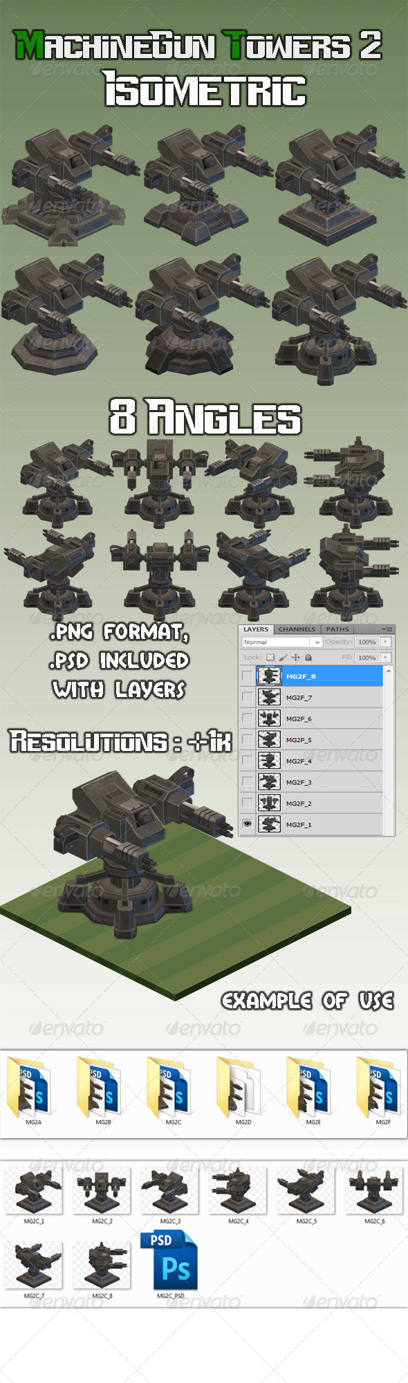 GraphicRiver Machinegun Turret 2 Isometric 7963097