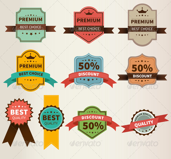 GraphicRiver Vintage Labels Set Discount and Premium 7963379