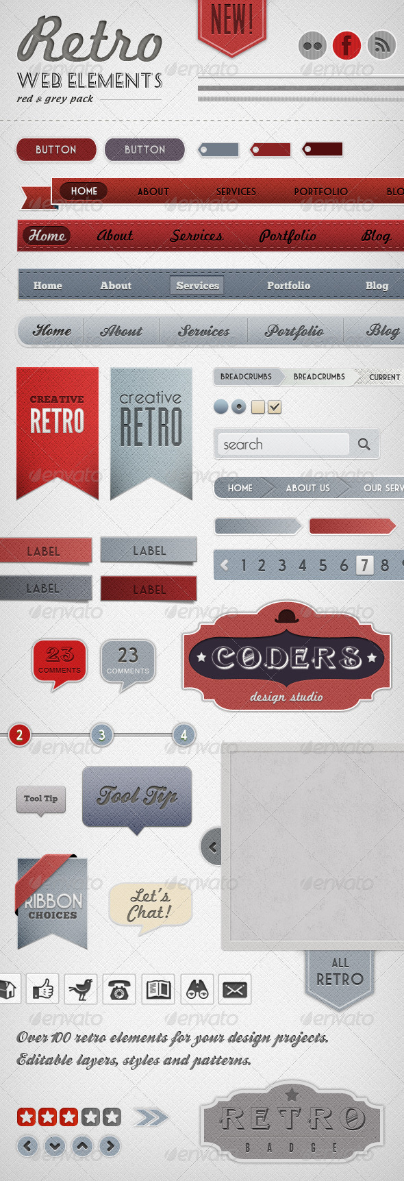 Retro Web Elements - Red & Grey Pack - Miscellaneous Web Elements