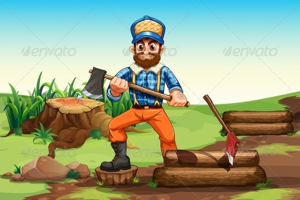 GraphicRiver A Lumberjack Chopping Wood 7968815