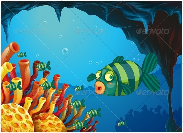 GraphicRiver School of Stripe-Colored Fishes Under the Sea 7968826