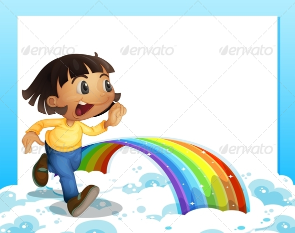 GraphicRiver Young Girl Running with a Rainbow 7968846