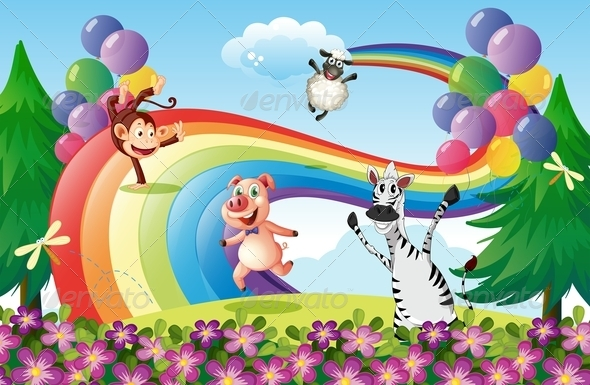 GraphicRiver Animals Playing at the Hilltop with a Rainbow 7968900