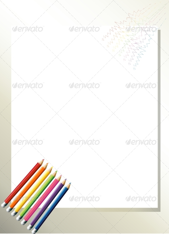 GraphicRiver Empty Template with Colorful Pencils 7968933