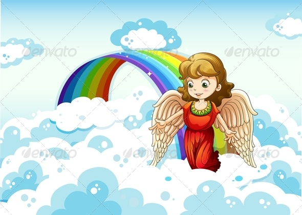 GraphicRiver An Angel in the Sky Near a Rainbow 7969005