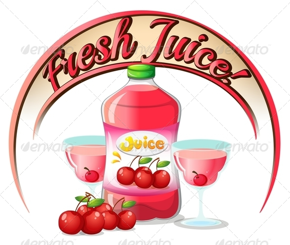 GraphicRiver Fresh Juice Label with Cherries 7969053