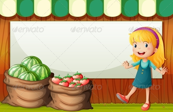 GraphicRiver Girl Selling Watermelon and Tomatoes Template 7969064