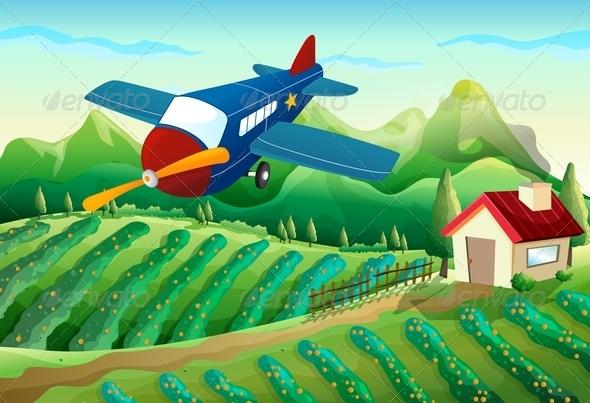 GraphicRiver Airplane Above a Farm 7969068