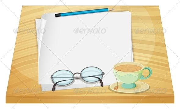 GraphicRiver Wooden Table with an Empty Paper and Tea Cup 7969324