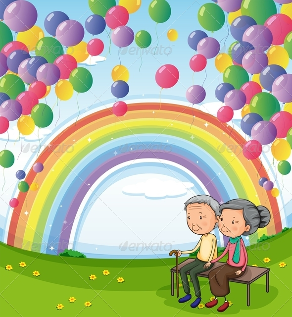 GraphicRiver Old Couple Below Floating Balloons and a Rainbow 7969585