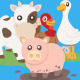 12 Farm Animals in 2 Different Position - GraphicRiver Item for Sale