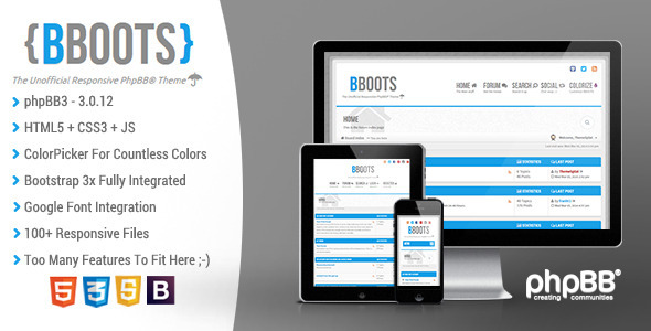 BBOOTS - HTML5/CSS3 Fully Responsive phpBB3 Theme - PhpBB Forums