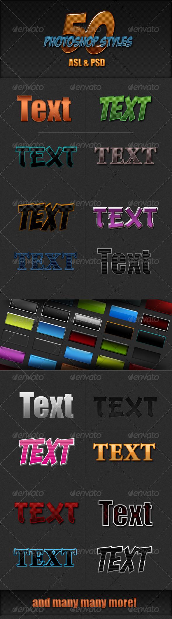GraphicRiver 50 Photoshop Styles Set 7933006