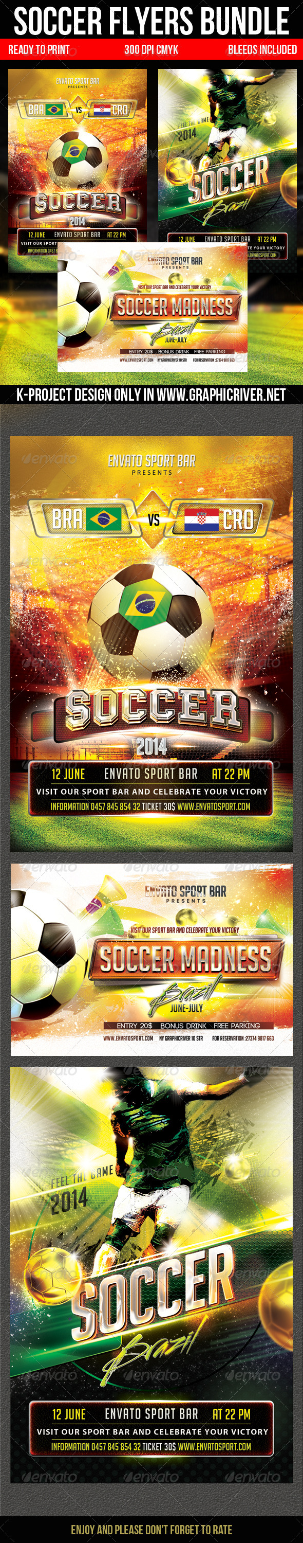 GraphicRiver Soccer Flyers Bundle 7951938
