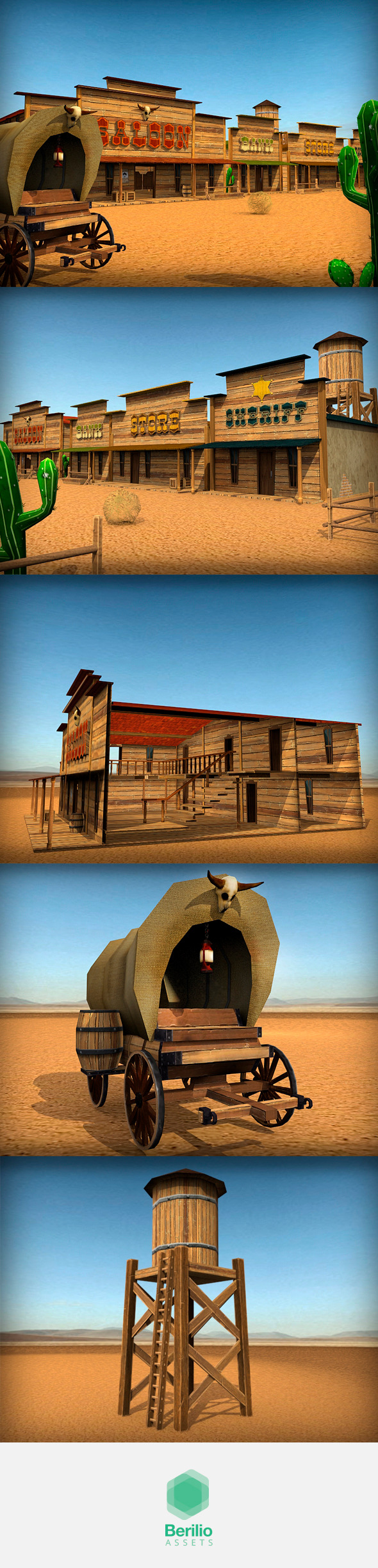 3DOcean Low Poly Cartoonish Western Pack 7974705