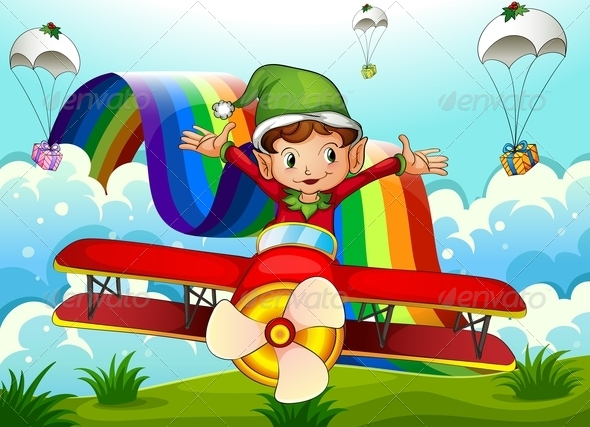 GraphicRiver Elf with Rainbow and Presents 7974719
