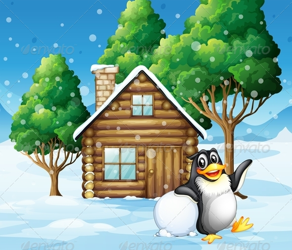 GraphicRiver Penguin in front of Wooden Cottage 7975607