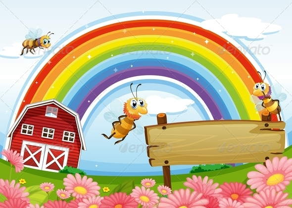 GraphicRiver Farm with Rainbow and Bees 7975667