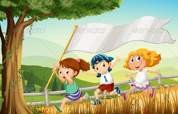 GraphicRiver Kids Running with Empty Banner 7975668