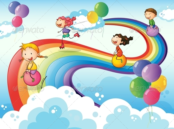 GraphicRiver Group of Kids Playing on a Rainbow 7977426