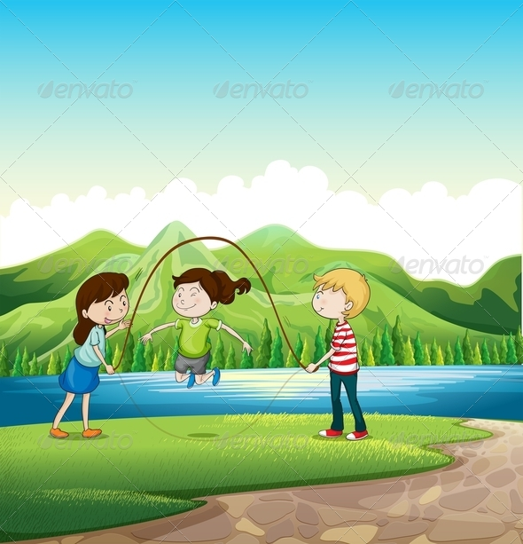 GraphicRiver Three Kids Playing Near a River 7977428