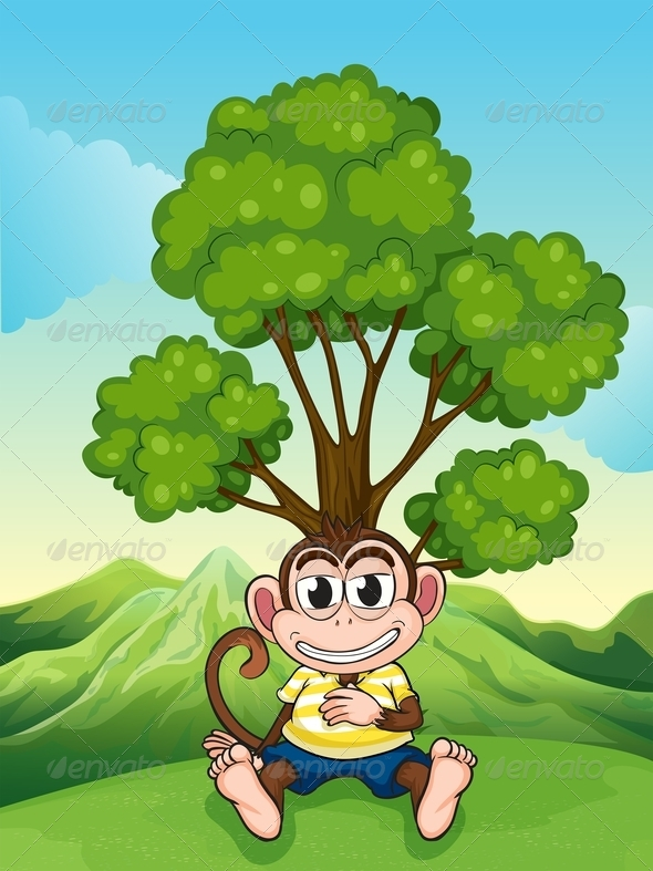 GraphicRiver Monkey Frowning Under a Tree at the Hilltop 7977491
