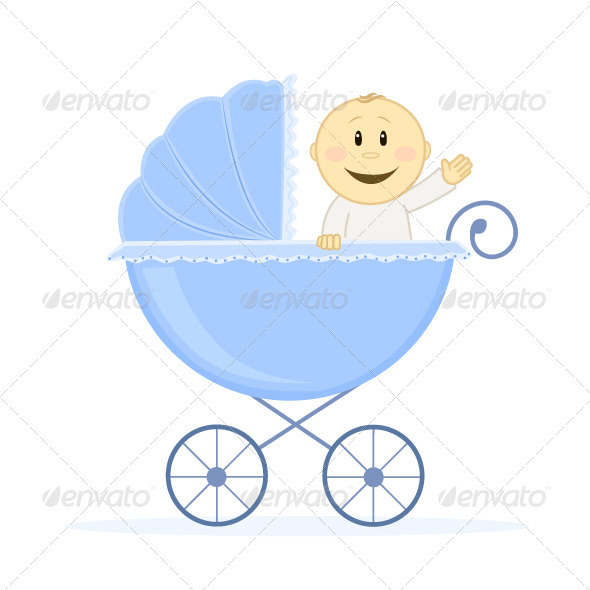 Baby boy in jogging stroller.