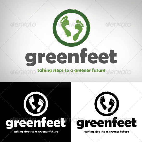 Green Feet Logo Design - Nature Logo Templates