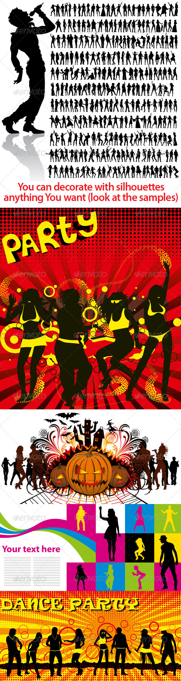 Dancing and Singing People's Silhouettes Big Set - Decorative Vectors