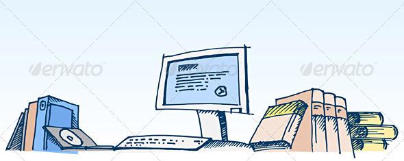 Graphic River Sketch of a Computer Illustration Vectors -  Conceptual  Technology  Computers 816503