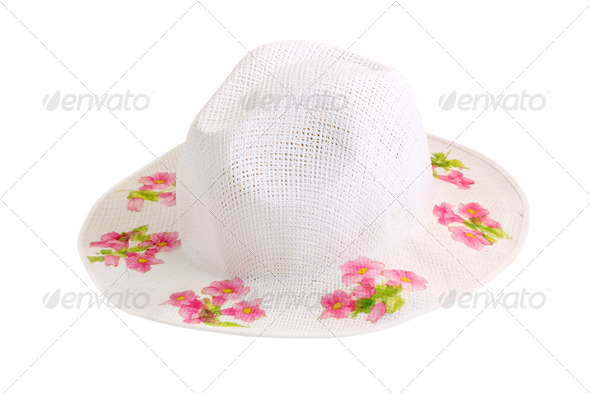 White fashion hat isolated on white background - Stock Photo - Images