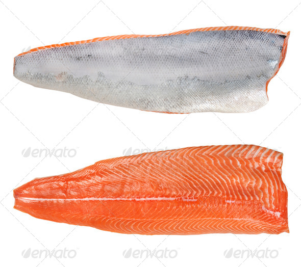 the split salmon for sushi - Stock Photo - Images