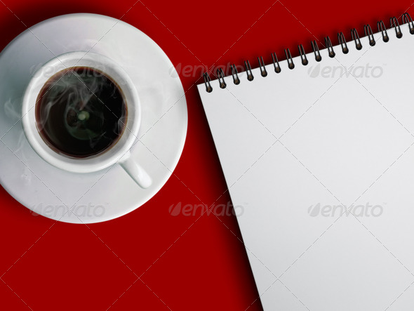 Stock Photo - PhotoDune cup of hot coffe and notebook 821300