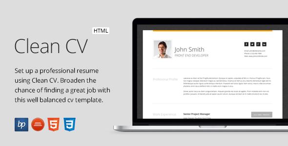 Clean Cv – Responsive Resume Template + 4 Bonuses By Bitpub