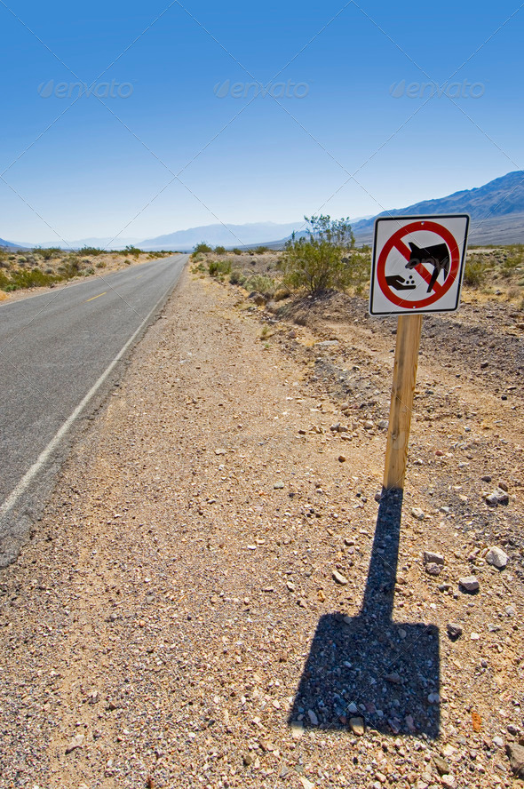 Death Valley road sign - Stock Photo - Images