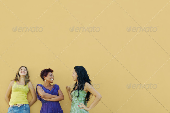 three women talking and having fun - Stock Photo - Images