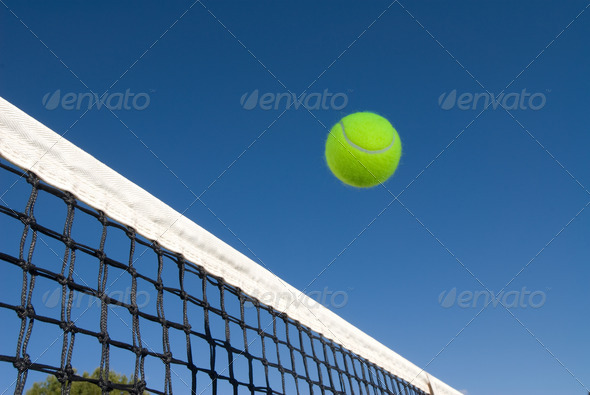 Tennis ball and net