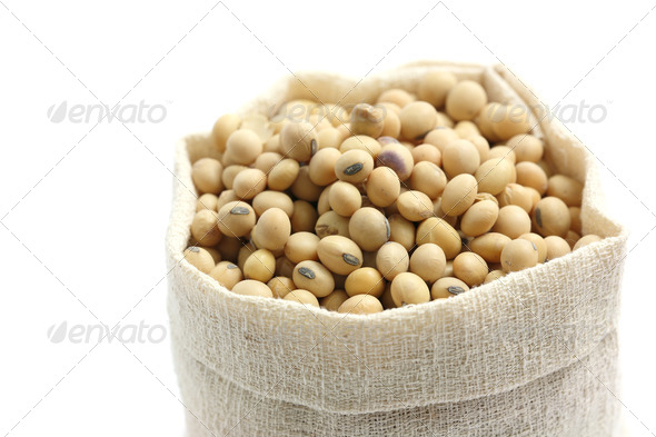 Soybean in sack isolated in white background - Stock Photo - Images