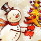 Skating Hand Drawn Snowman With Christmas Tree - GraphicRiver Item for Sale