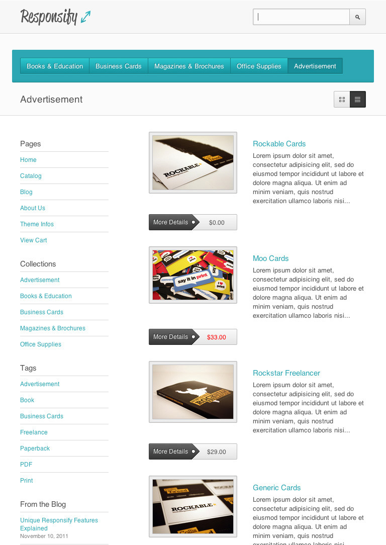 Responsify - A product collection as it would appear on a tablet and using the inverted header style option. Even though less space will be available in this case, all of the contents and features such as the view switch still remain available and functional.