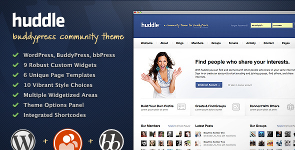 Huddle - WordPress & BuddyPress Community Theme