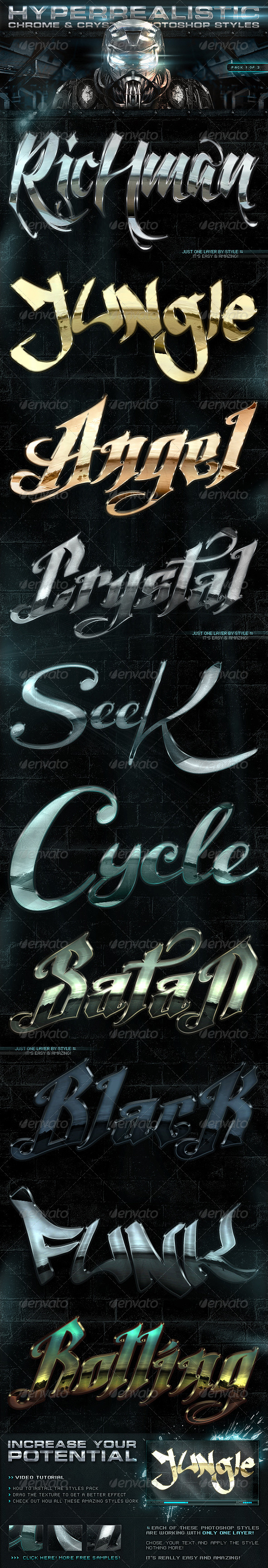 Chrome & Crystal Photoshop Styles 1of3 - Text Effects Styles