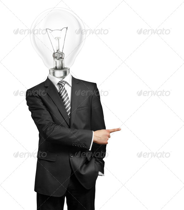 PhotoDune Lamp Head Businessman Showing With Finger 848624