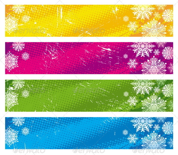 Graphic River Vector Grunge Banners With Snowflakes Vectors -  Conceptual  Seasons/Holidays 848730
