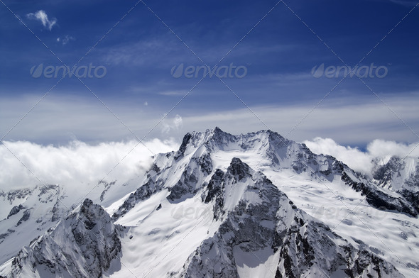 High mountains in cloud - Stock Photo - Images