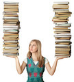 woman with many books in her hands - PhotoDune Item for Sale