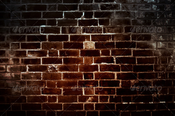 Dark grunge bricks background 2 - Stock Photo - Images